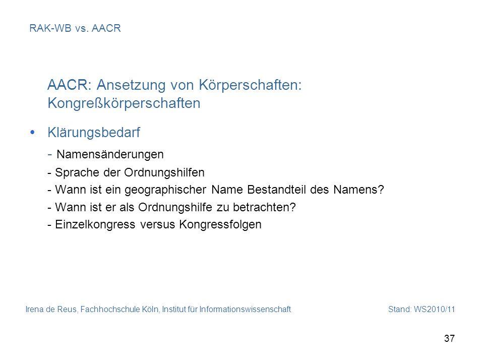 AACR: Ansetzung von Körperschaften: Kongreßkörperschaften