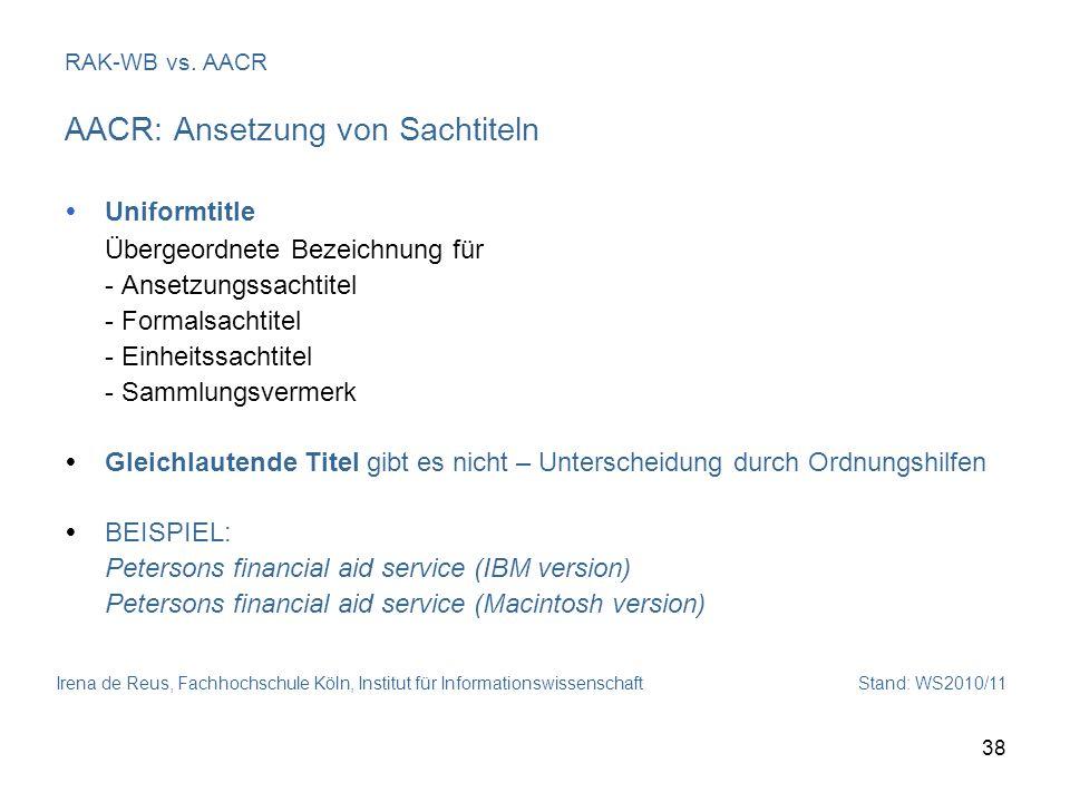 AACR: Ansetzung von Sachtiteln