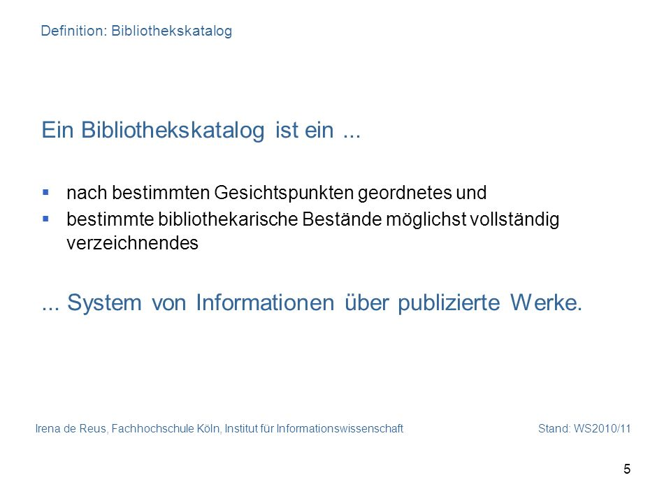 Definition: Bibliothekskatalog