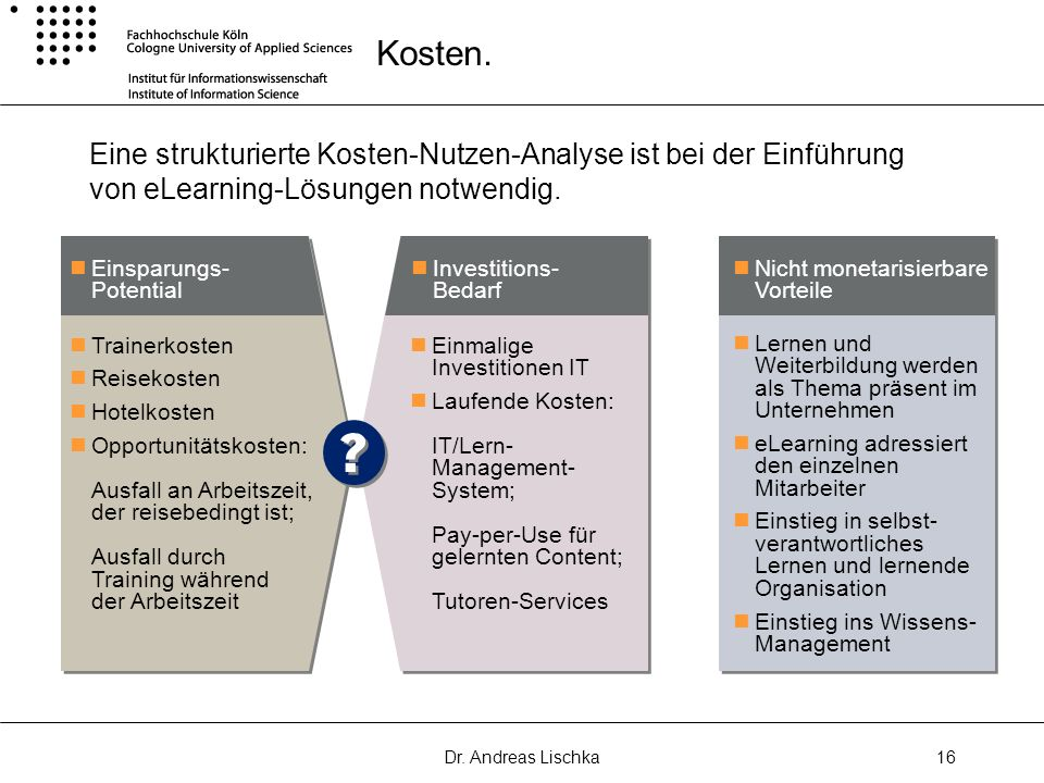 Kosten.Eine strukturierte Kosten-Nutzen-Analyse ist bei der Einführung von eLearning-Lösungen notwendig.