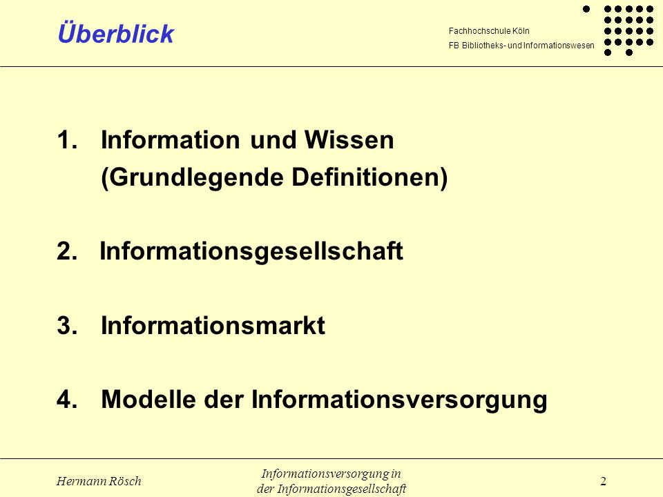 Information und Wissen (Grundlegende Definitionen)