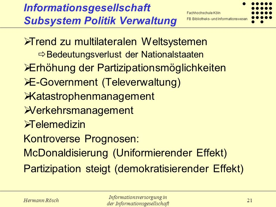 Informationsgesellschaft Subsystem Politik Verwaltung