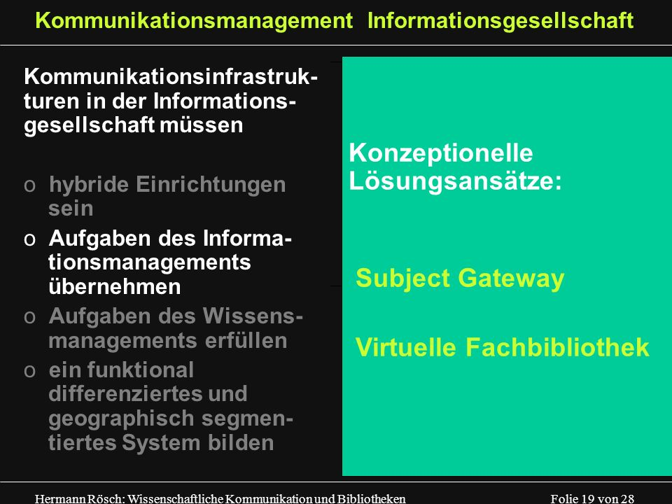 Kommunikationsmanagement Informationsgesellschaft
