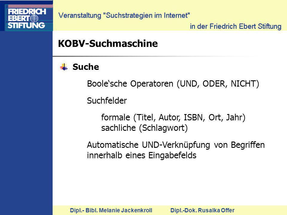 KOBV-Suchmaschine Suche Boole'sche Operatoren (UND, ODER, NICHT)