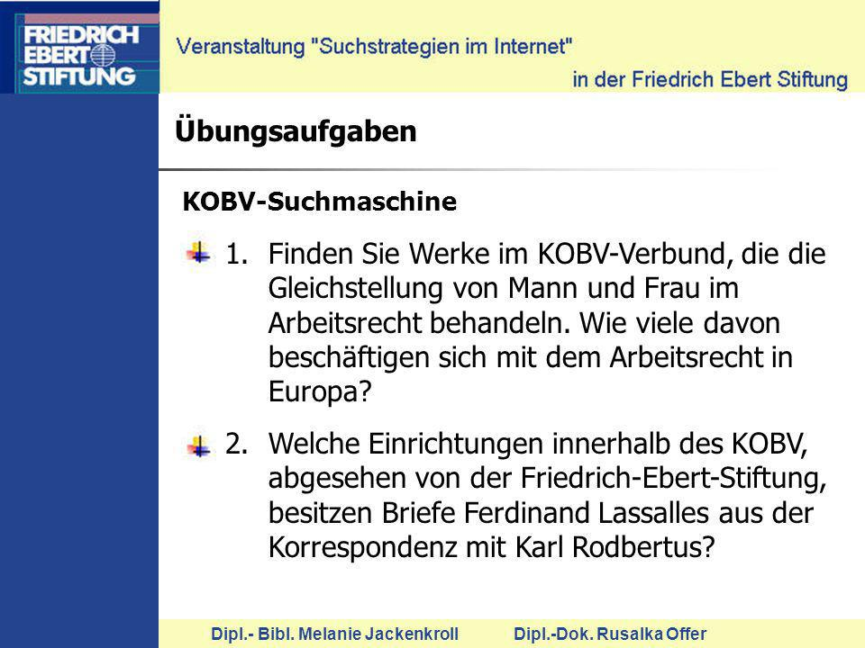 Übungsaufgaben KOBV-Suchmaschine.