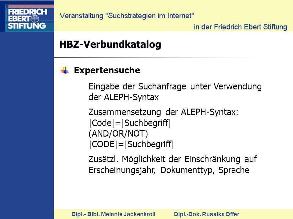 HBZ-Verbundkatalog Expertensuche
