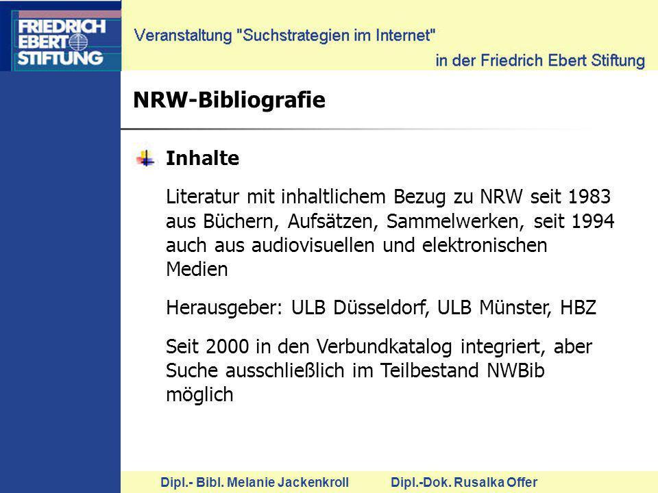 NRW-Bibliografie Inhalte