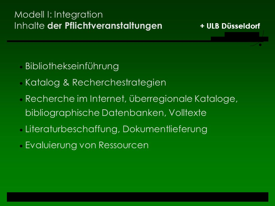 Modell I: Integration Inhalte der Pflichtveranstaltungen