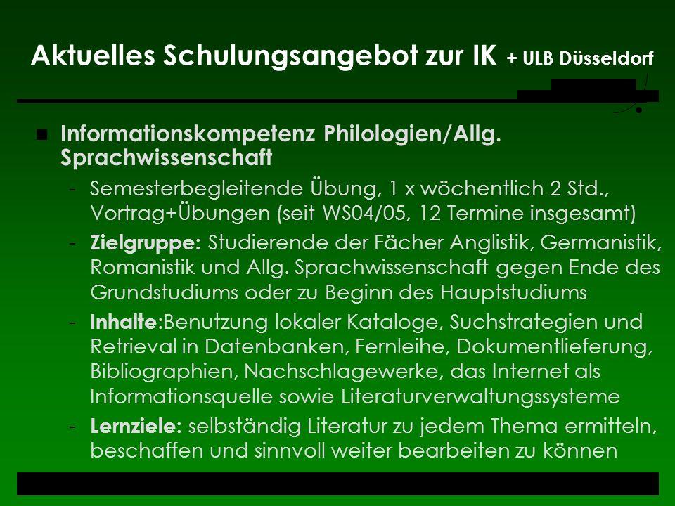 Aktuelles Schulungsangebot zur IK + ULB Düsseldorf
