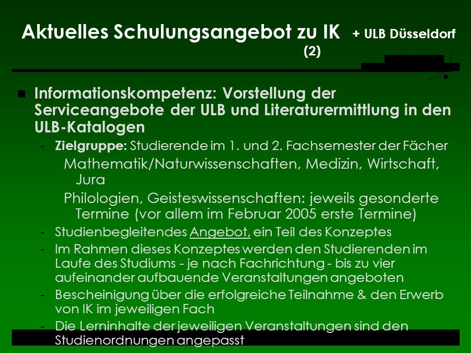 Aktuelles Schulungsangebot zu IK + ULB Düsseldorf (2)