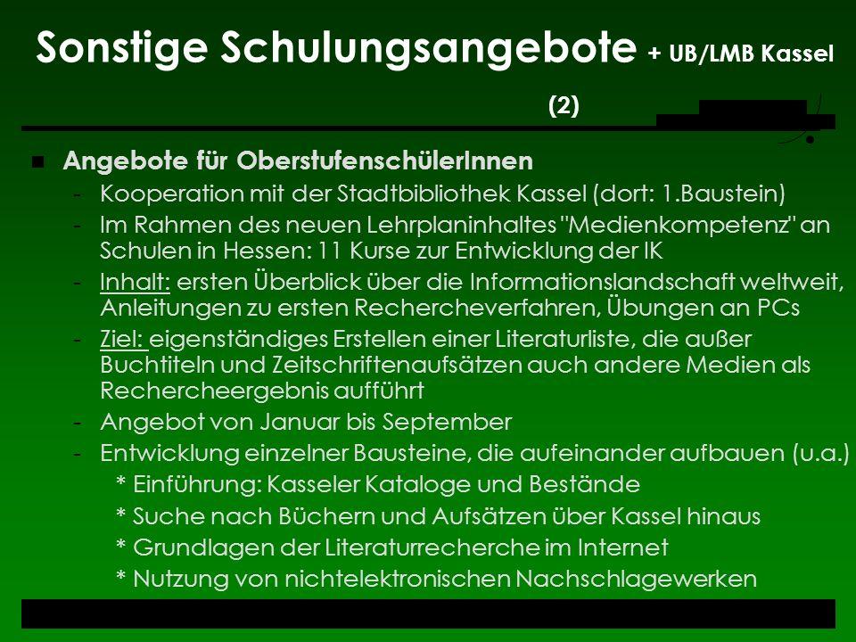 Sonstige Schulungsangebote + UB/LMB Kassel (2)