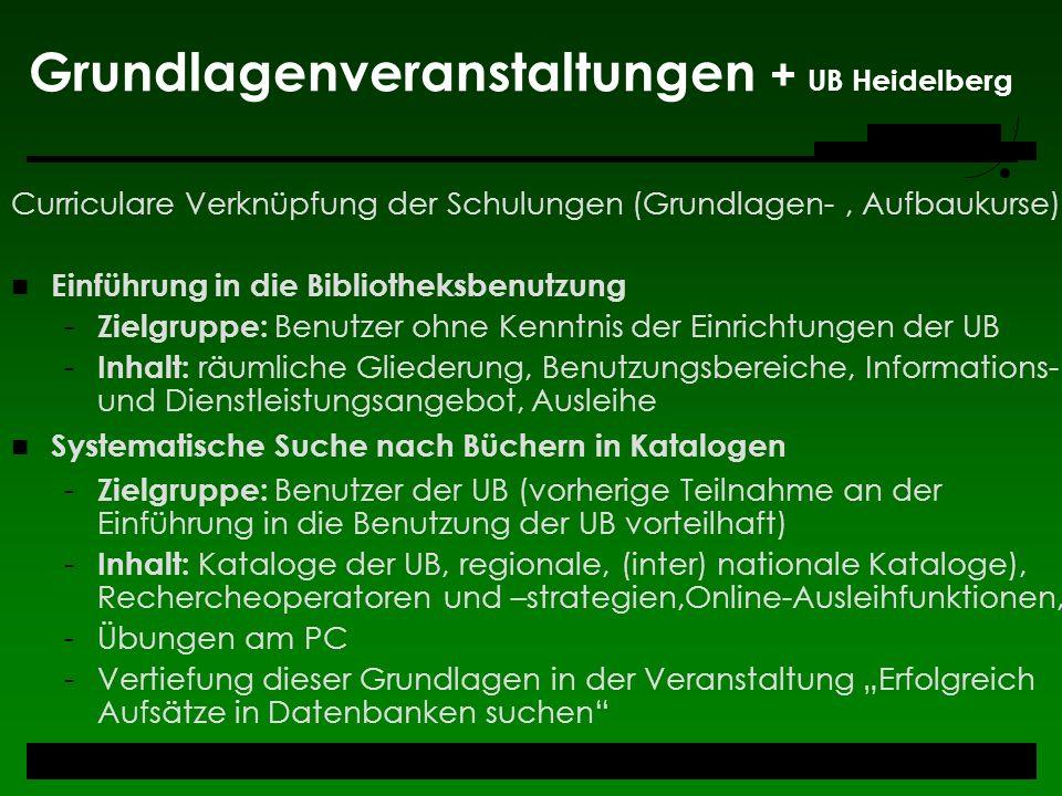 Grundlagenveranstaltungen + UB Heidelberg
