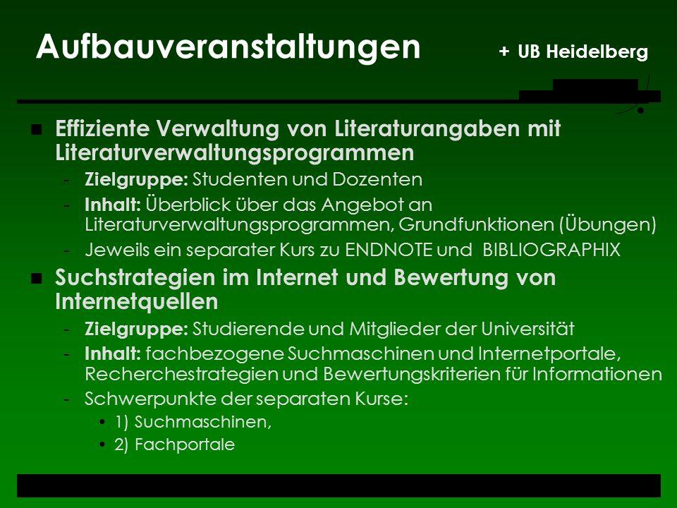Aufbauveranstaltungen + UB Heidelberg
