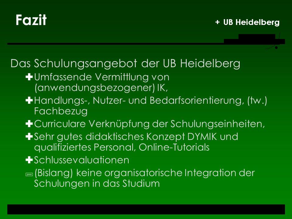 Fazit + UB Heidelberg Das Schulungsangebot der UB Heidelberg