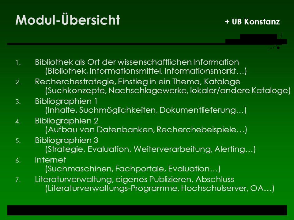 Modul-Übersicht + UB Konstanz