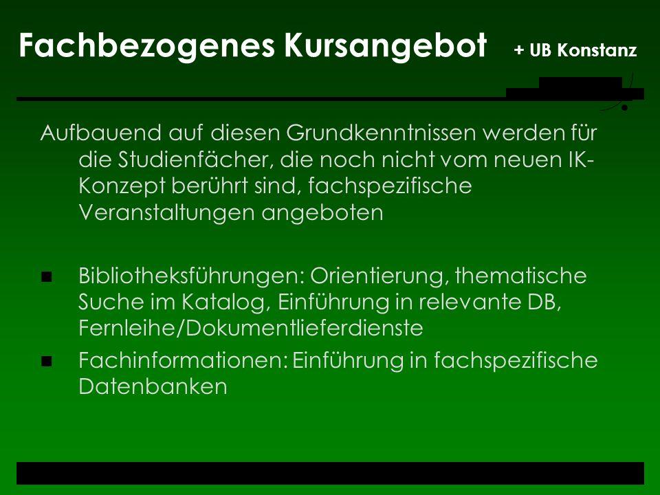 Fachbezogenes Kursangebot + UB Konstanz