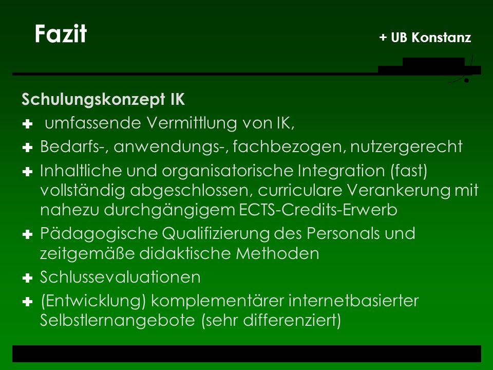 Fazit + UB Konstanz Schulungskonzept IK umfassende Vermittlung von IK,
