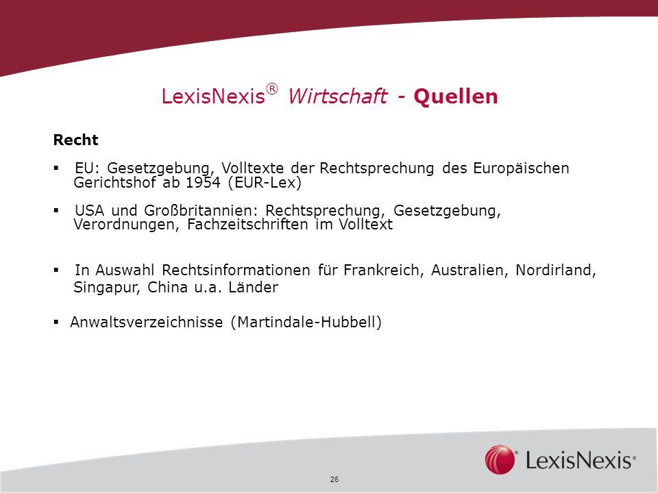 LexisNexis® Wirtschaft - Quellen