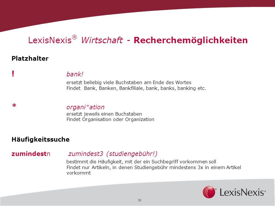 LexisNexis® Wirtschaft - Recherchemöglichkeiten