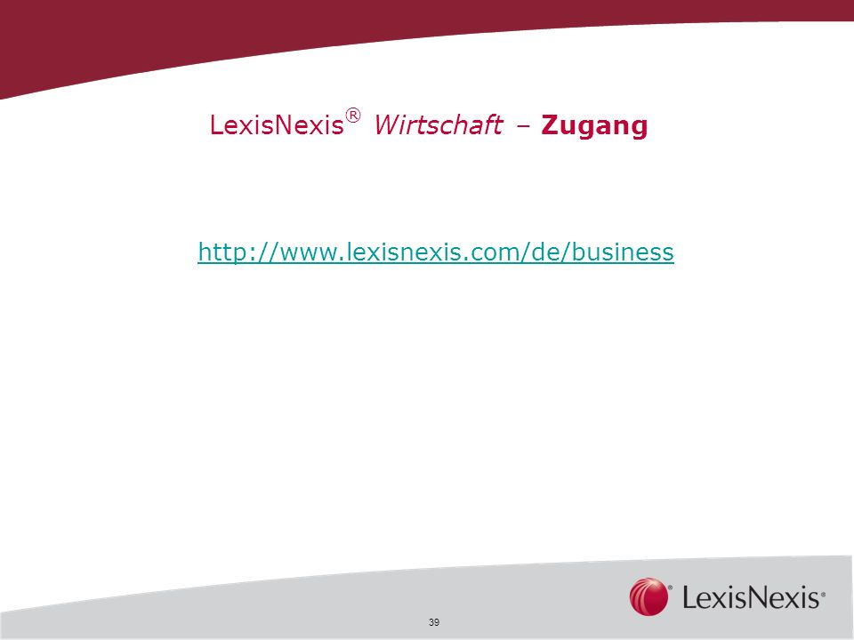 LexisNexis® Wirtschaft – Zugang