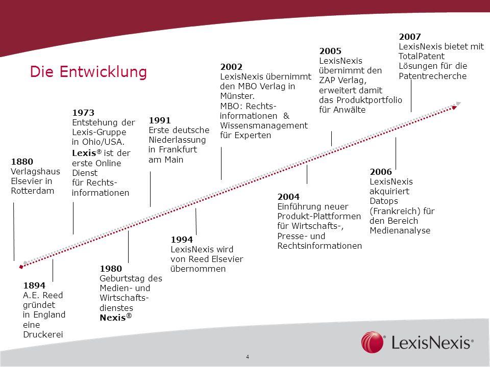 2007 LexisNexis bietet mit TotalPatent Lösungen für die Patentrecherche. 2005. LexisNexis. übernimmt den.