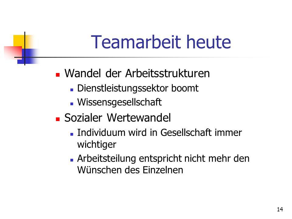 Teamarbeit heute Wandel der Arbeitsstrukturen Sozialer Wertewandel