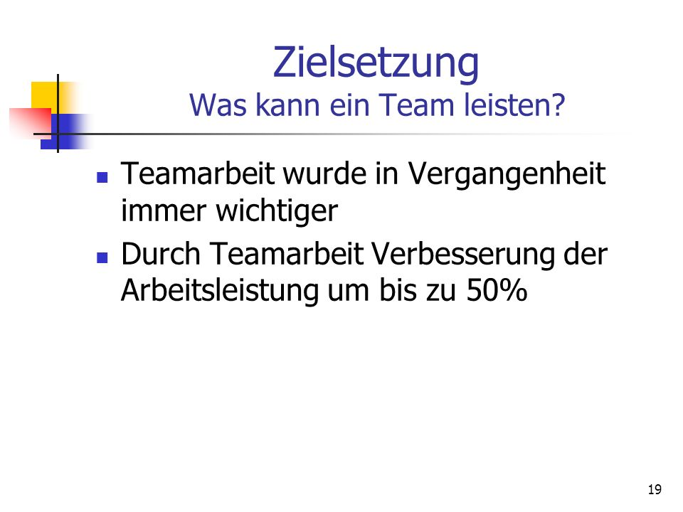 Zielsetzung Was kann ein Team leisten