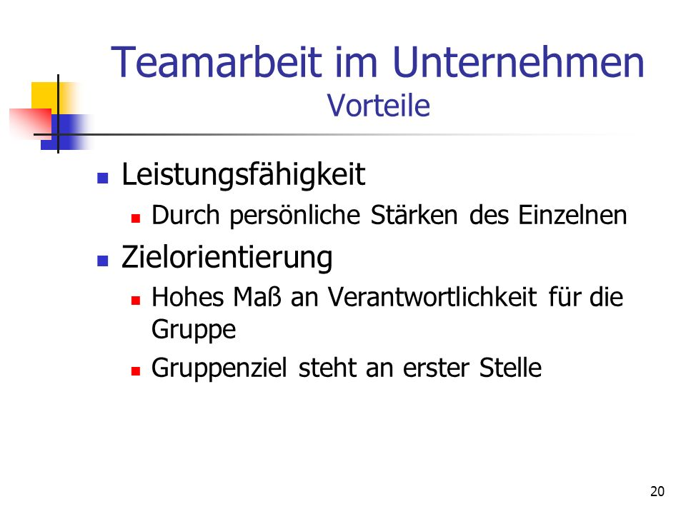 Teamarbeit im Unternehmen Vorteile