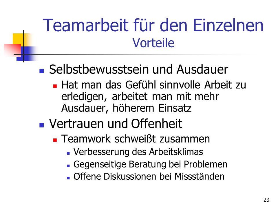 Teamarbeit für den Einzelnen Vorteile