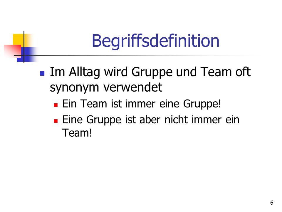 Begriffsdefinition Im Alltag wird Gruppe und Team oft synonym verwendet. Ein Team ist immer eine Gruppe!