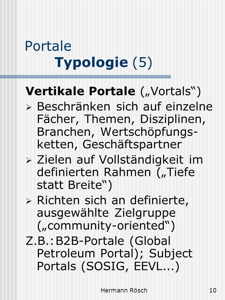 "Portale Typologie (5) Vertikale Portale (""Vortals )"