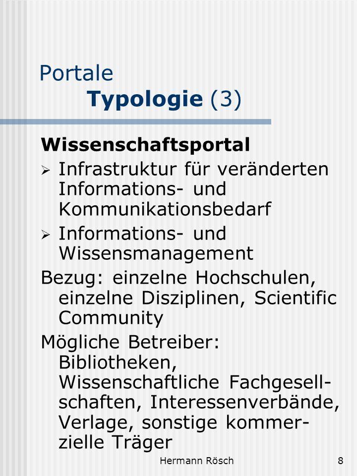 Portale Typologie (3) Wissenschaftsportal