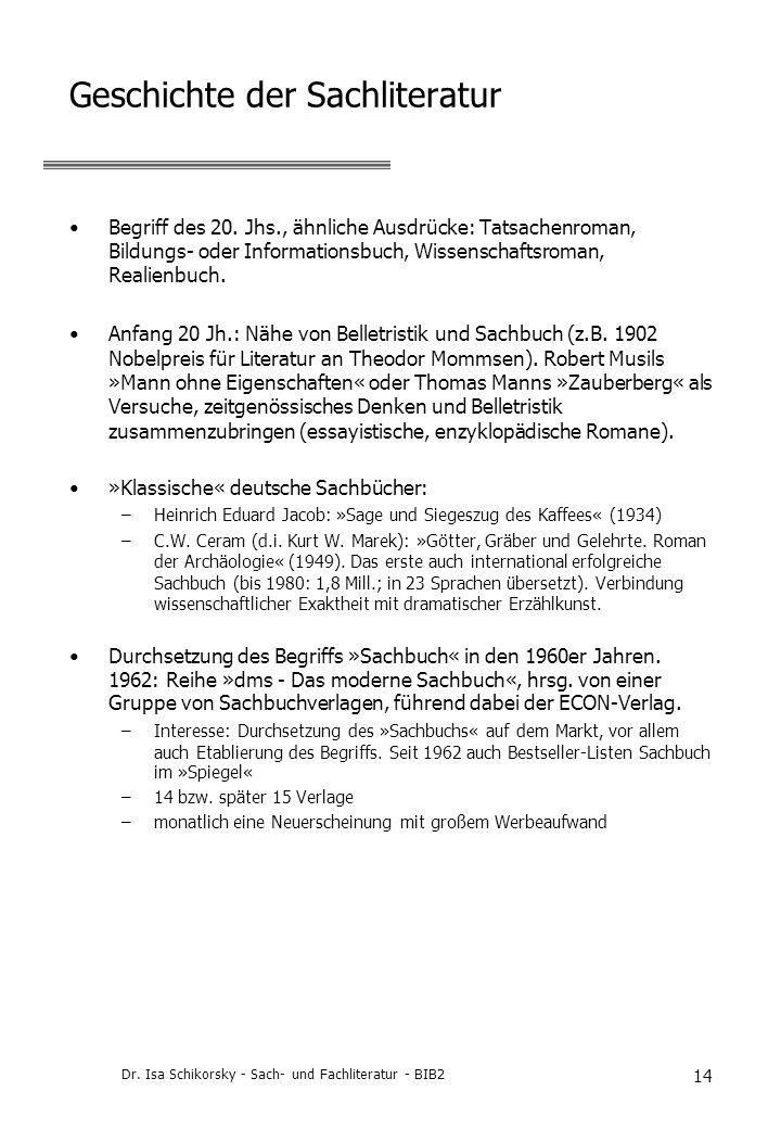 Geschichte der Sachliteratur