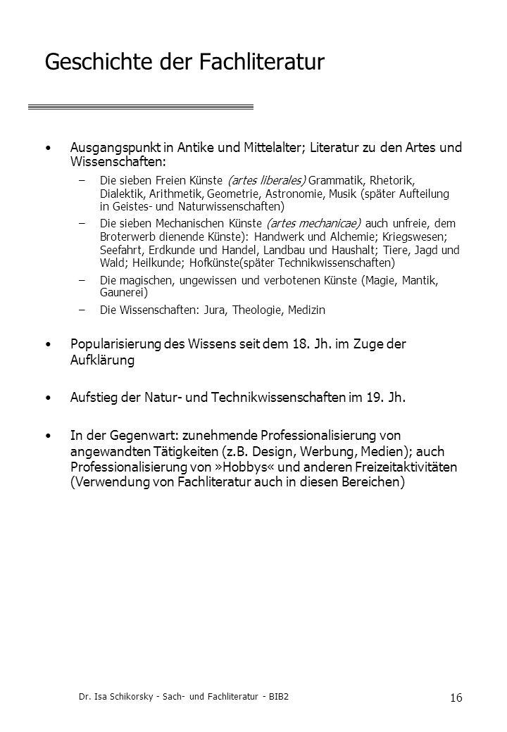 Geschichte der Fachliteratur