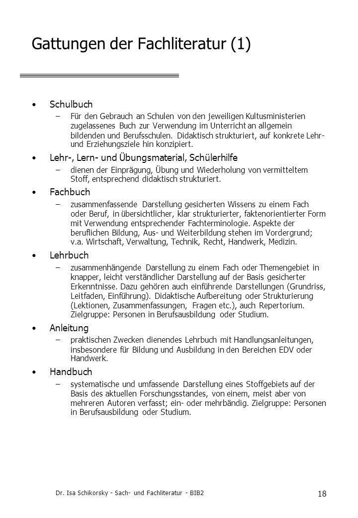 Gattungen der Fachliteratur (1)