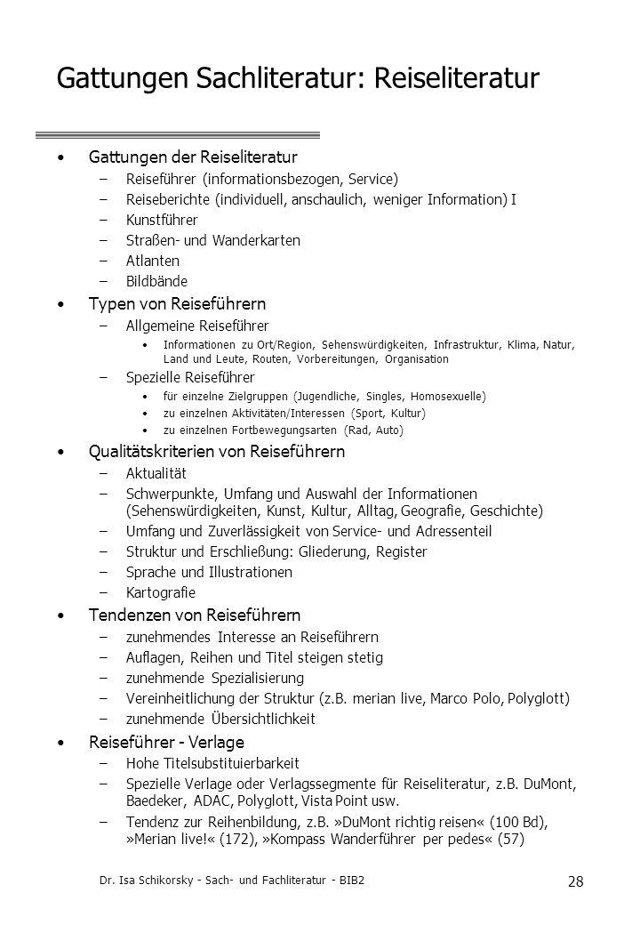 Gattungen Sachliteratur: Reiseliteratur