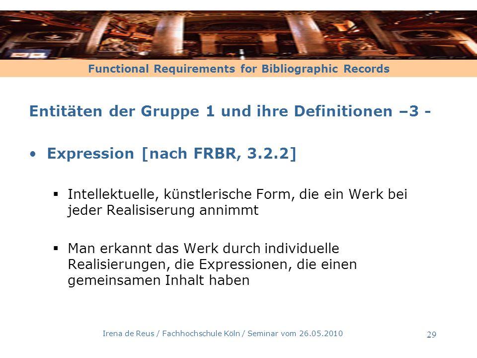 Irena de Reus / Fachhochschule Köln / Seminar vom 26.05.2010