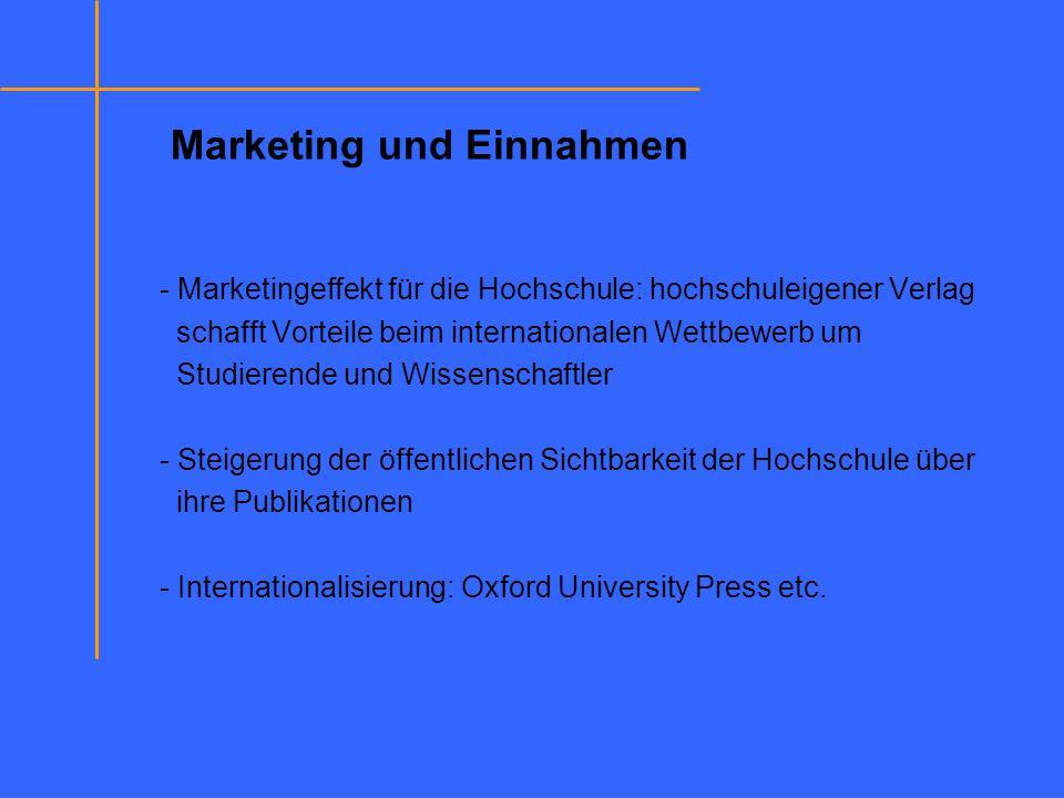 Marketing und Einnahmen