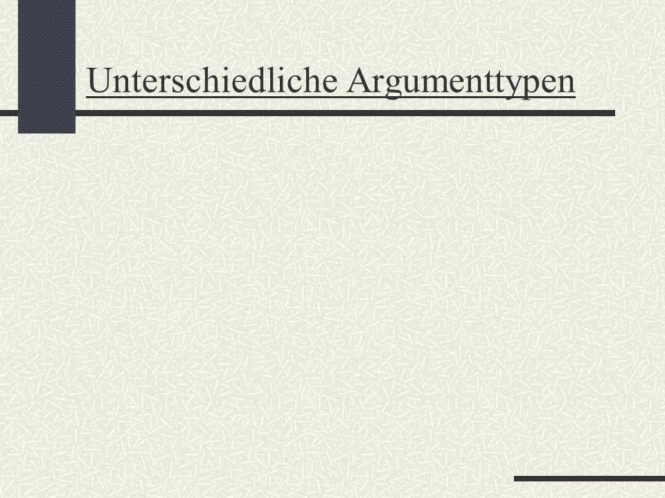 Unterschiedliche Argumenttypen