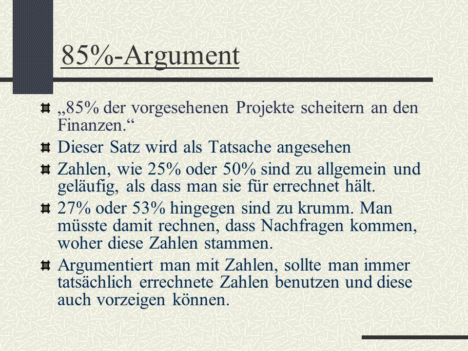 """85%-Argument""""85% der vorgesehenen Projekte scheitern an den Finanzen. Dieser Satz wird als Tatsache angesehen."""