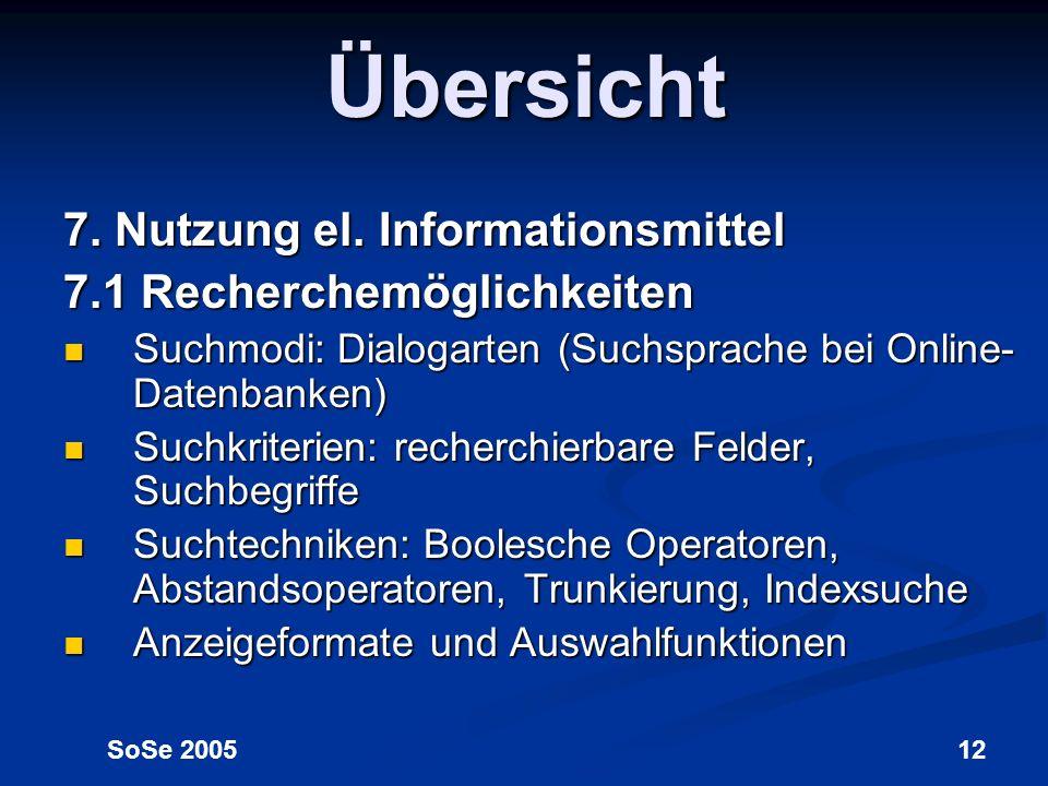 Übersicht 7. Nutzung el. Informationsmittel 7.1 Recherchemöglichkeiten
