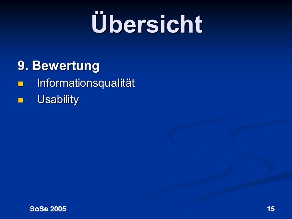 Übersicht 9. Bewertung Informationsqualität Usability SoSe 2005