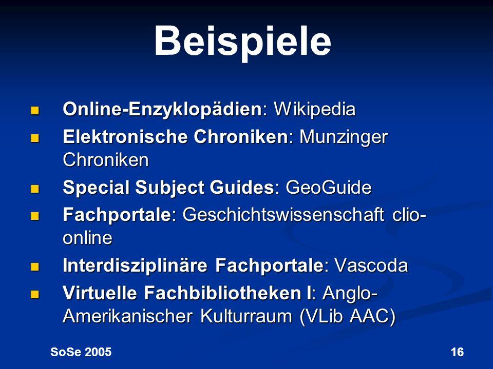 Beispiele Online-Enzyklopädien: Wikipedia