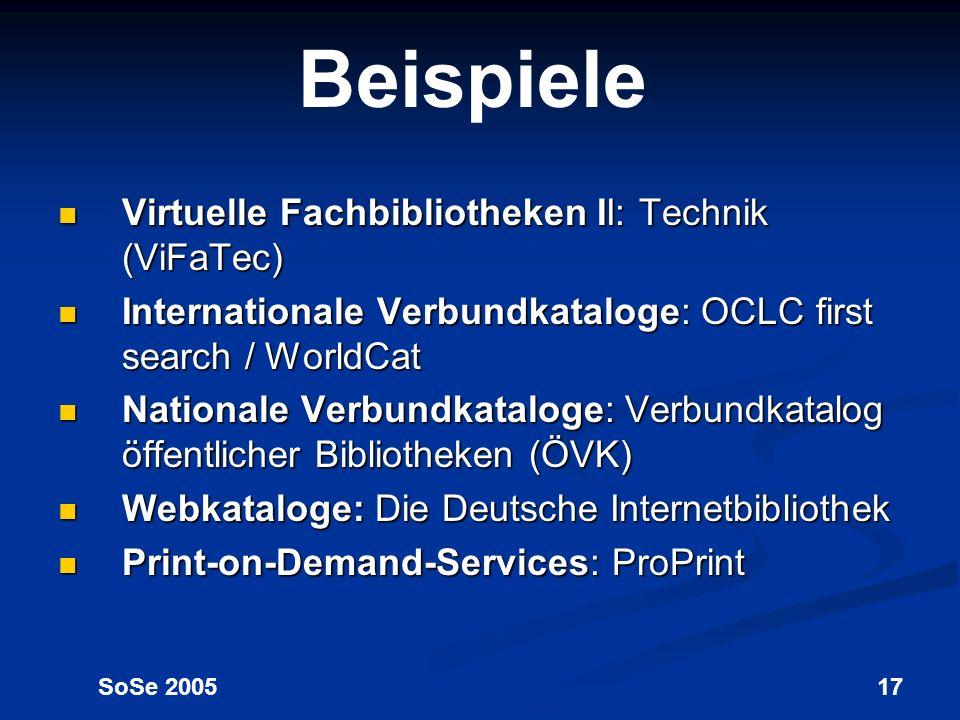 Beispiele Virtuelle Fachbibliotheken II: Technik (ViFaTec)