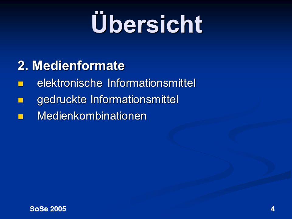 Übersicht 2. Medienformate elektronische Informationsmittel