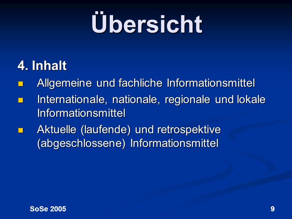 Übersicht 4. Inhalt Allgemeine und fachliche Informationsmittel