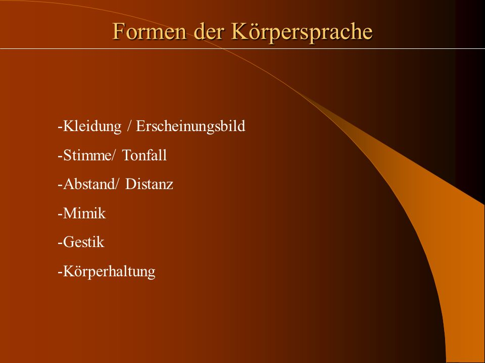 Formen der Körpersprache