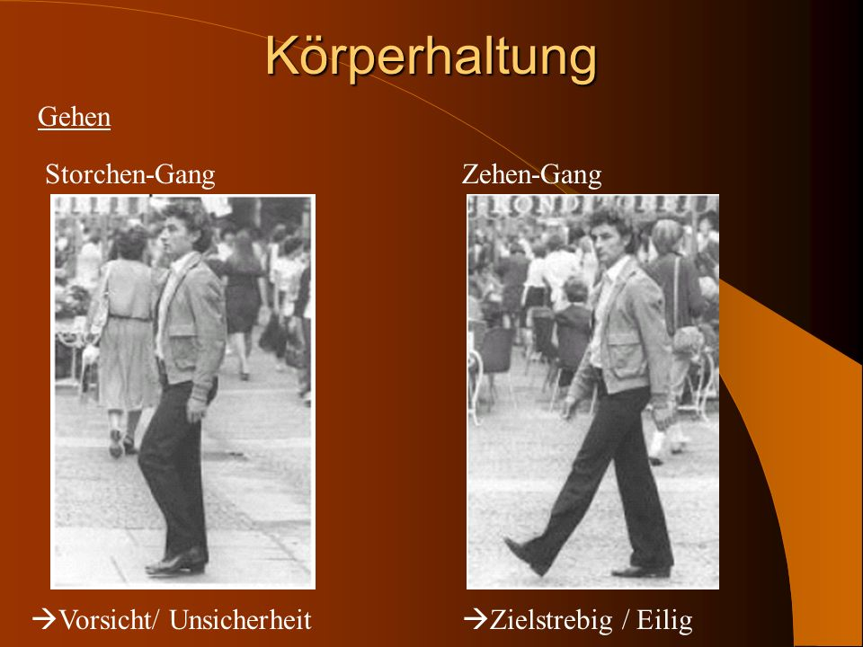 Körperhaltung Gehen Storchen-Gang Zehen-Gang Vorsicht/ Unsicherheit