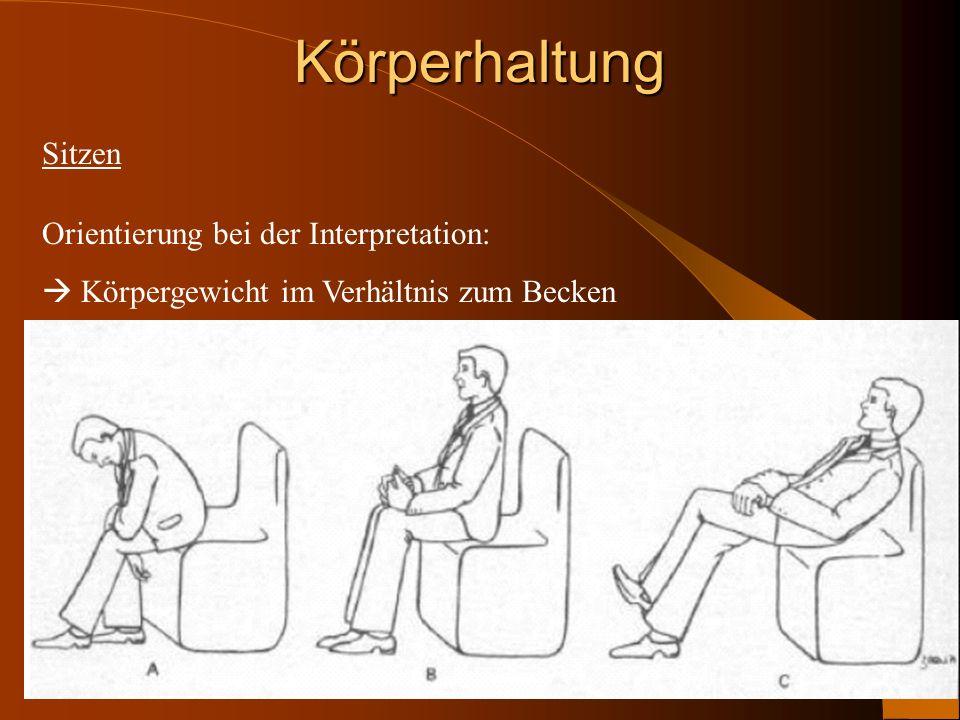 Körperhaltung Sitzen Orientierung bei der Interpretation: