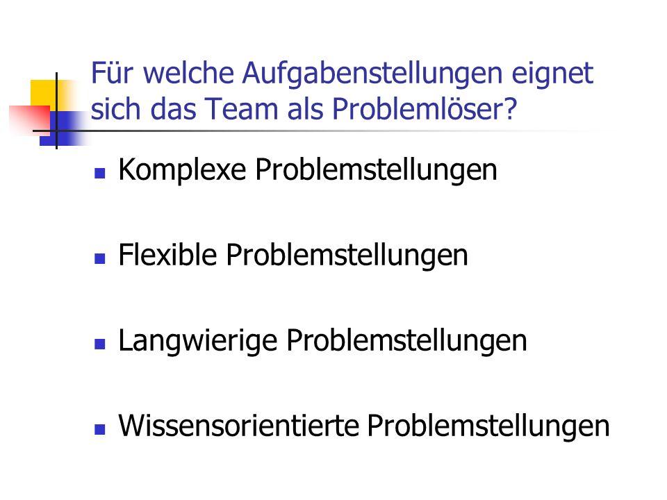 Für welche Aufgabenstellungen eignet sich das Team als Problemlöser